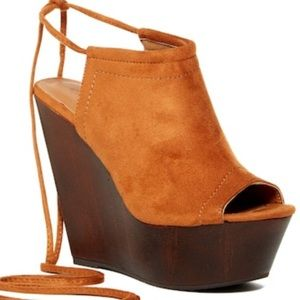 Platform Peep-Toe Wedges, New In Box